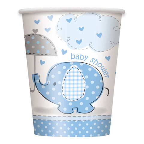 Baby Shower Umbrella Elephant Paper Cups Blue (8 Pieces)