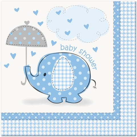 Baby Shower Umbrella Elephant Lunch Paper Napkin Blue (16 Pieces)