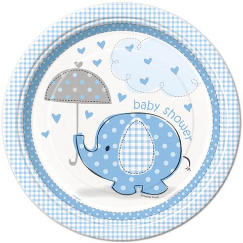 "9"" Baby Shower Umbrella Elephant Paper Plate Blue (8 Pieces)"