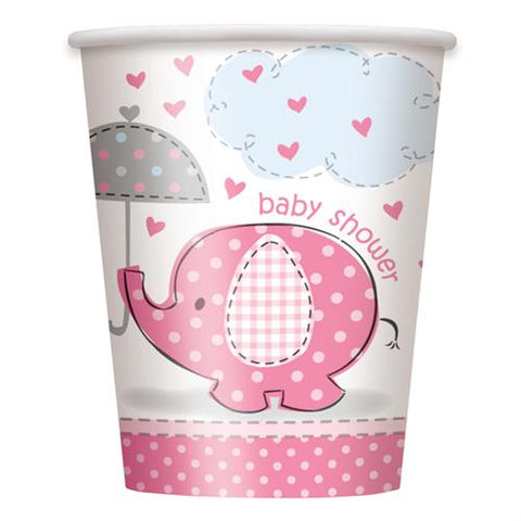 Baby Shower Umbrella Elephant Paper Cups Pink (8 Pieces)