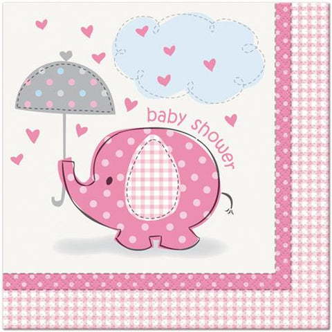 Baby Shower Umbrella Elephant Lunch Paper Napkin Pink (16 Pieces)