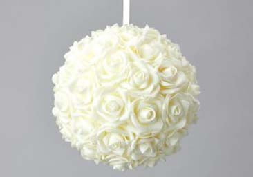 "Foam Rose Pomander Flower Kissing Ball 10"" Ivory"