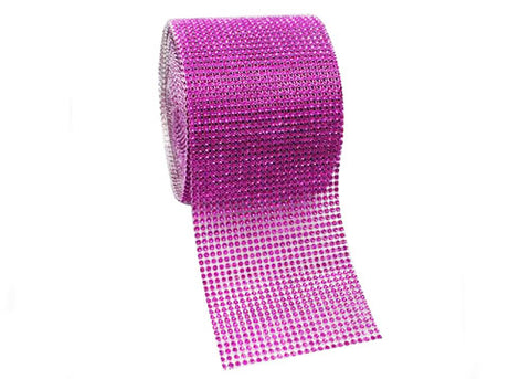 "4.5"" x 10 yards Rhinestone-Look Diamond Wrap Ribbon Fuchsia (1 roll)"