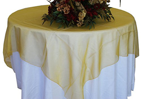Gold Organza Table Overlay 80 X 80 Square(1 Piece)