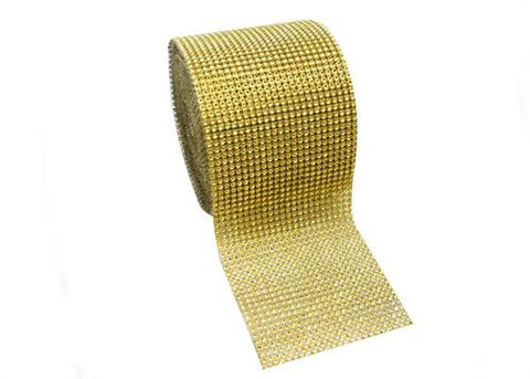"4.5"" x 10 yards Rhinestone-Look Diamond Wrap Ribbon Gold (1 roll)"