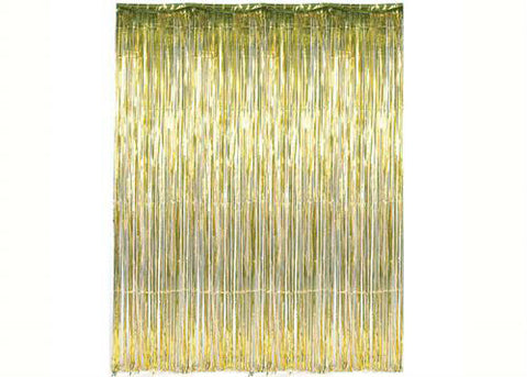 Gold Metallic Foil Party Tassel Curtain Fringe Wall Decoration Hanging 3'x 8'