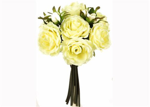 Rose Silk Flower Bouquet Soft Yellow