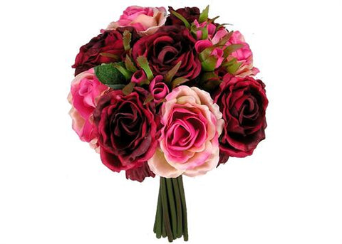 Rose Silk Flower Bouquet Burgundy