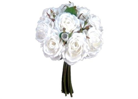 Rose Silk Flower Wedding Bouquet White