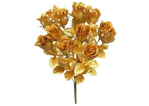 14 Heads Artificial Gold Rose Silk Flower Bush