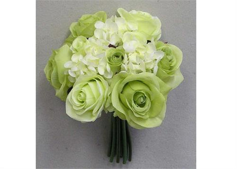Rose & Hydrangea Silk Flower Wedding Bouquet Cream and Green