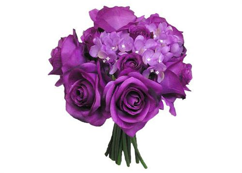 Rose Hydrangea Silk Flower Wedding Bouquet eggplant