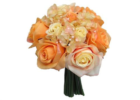 Rose & Hydrangea Silk Flower Wedding Bouquet Orange