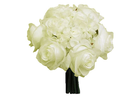 Rose & Hydrangea Silk Flower Wedding Bouquet Cream
