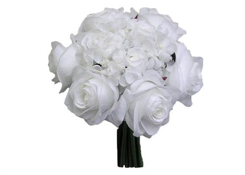 Rose Hydrangea Silk Flower Bouquet White