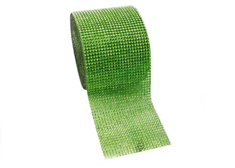 "4.5"" x 10 yards Rhinestone-Look Diamond Wrap Ribbon Apple Green (1 roll)"