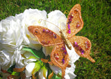 Handmade Artificial Decorative Butterfly With Clip Orange(12 Pieces)
