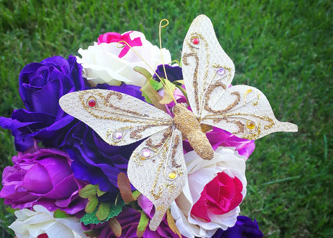 "4.5"" Handmade Artificial Butterflies Decoration with Clip Gold (12 pieces)"