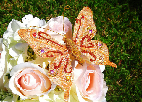 "4.5"" Handmade Artificial Butterflies Decoration with Clip Orange (12 pieces)"