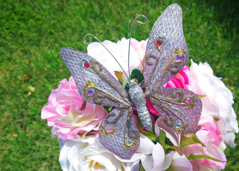 "4.5"" Handmade Artificial Butterflies Decoration with Clip Sliver (12 pieces)"
