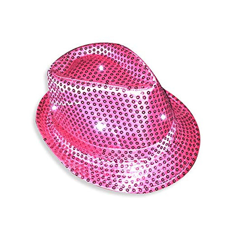 Light-Up Fedora Hat with 6 Lights- Hot Pink