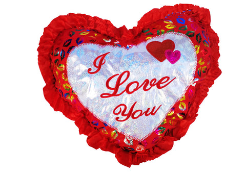 "18"" I Love You Heart Shape Pillow with Sound and Light Up (Set of 6)"