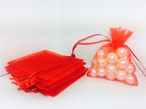 3 X 4 Red Organza Bags (24 Pieces)