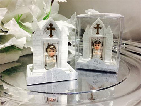 Baby Girl Baptism Favor with Church - 12 pcs