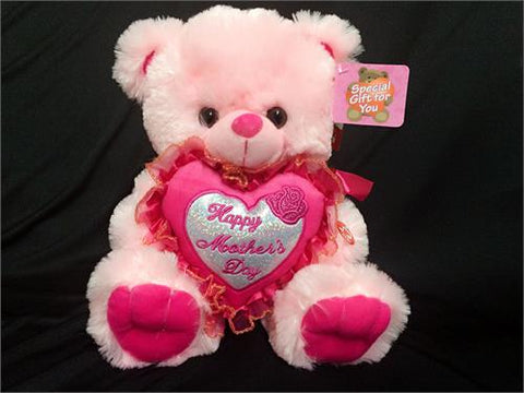 "12"" Pink Musical Teddy Bear with ""Happy Mother's Day"" Heart (12Pieces)"