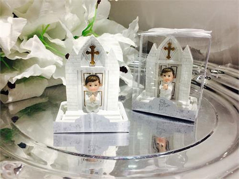 Baby Boy Baptism Favor with Church - 12 pcs