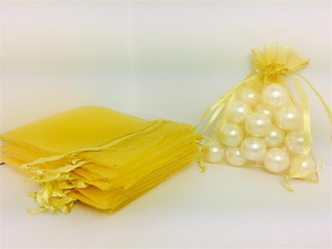 3 X 4 Yellow Organza Bags (24 Pieces)
