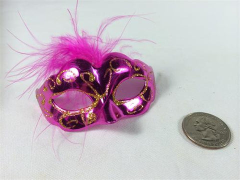 "3"" Mini Gold Glitter Venetian Mask with Feather Fuchsia (12 Pieces)"