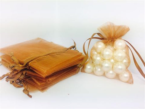 3 X 4 Brown Organza Bags (24 Pieces)