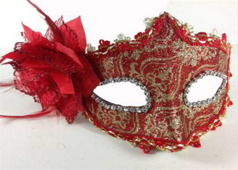 Handmade Red and gold print Venetian Mask with a rose