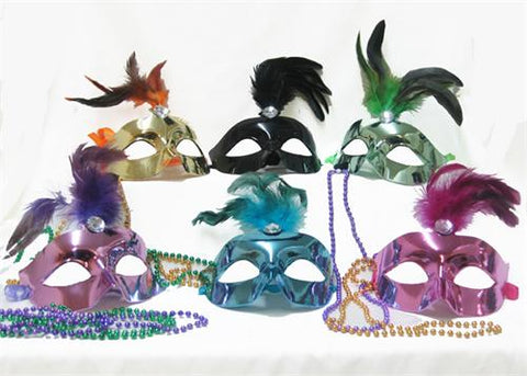 Metallic Color Venetian Mask with Feather (12 assorted pieces)