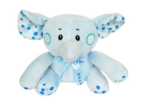 8 Inch Baby Shower It's a Boy Elephant Plush Blue