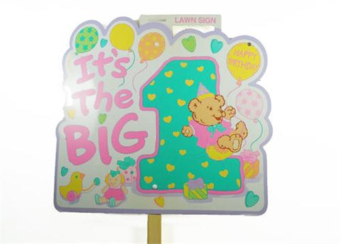 It's The Big 1 Girl Birthday Lawn Sign (6 Pieces)