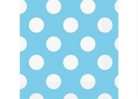 "10"" x 10'' Polka Dots Paper Beverage Napkin - Light Blue (16 Pieces)"