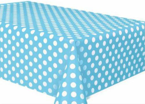 "Polka Dot Plastic Tablecloth, 108"" x 54"", Light Blue"