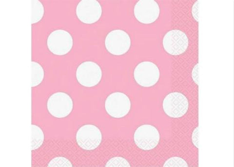 "10"" x 10'' Polka Dots Paper Beverage Napkin - Light Pink (16 Pieces)"