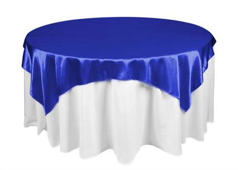 Royal Blue Satin Table Overlay 72 X 72 Square(1 Piece)