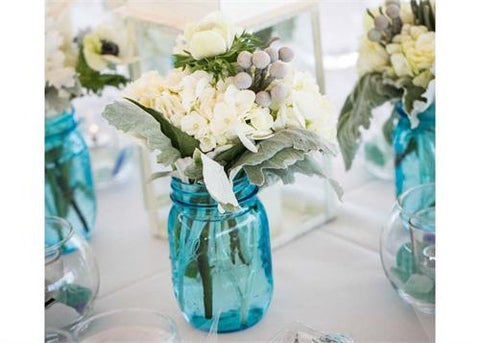 "5 1/2"" Decorative Blue Mason Jar (24 pieces)"