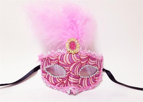 Handmade Pink Venetian Mask with a Feather