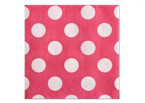 "10"" x 10'' Polka Dots Paper Beverage Napkin - Hot Pink (16 Pieces)"
