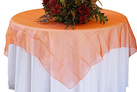 Orange Organza Table Overlay 80 X 80 Square(1 Piece)