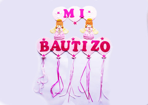 Pink Girl Mi Bautizo Baptism Foam Sign Banner - 1 piece