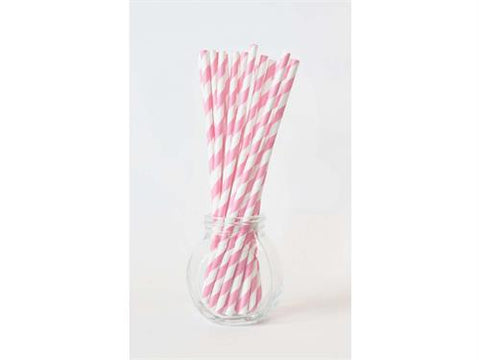 Stripe Paper Straws - Light Pink 10pc