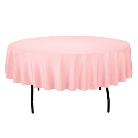 "84"" Round Plastic Table Cover Pink (1 Piece)"