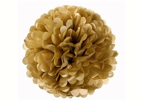 16'' Puff Tissue Paper Balls - Metallic Gold  1 Piece