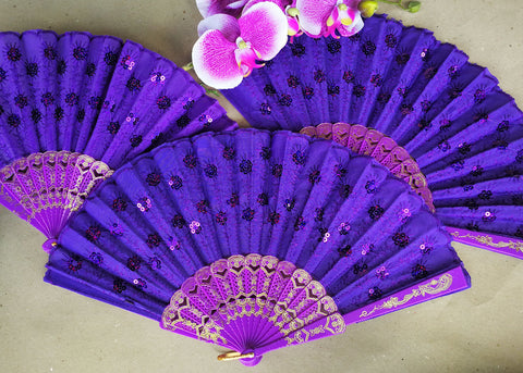 Purple Cloth Hand Fans with Plastic Handle (10 Pieces)